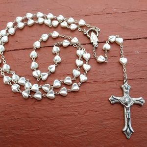 Pearl tone Heart Shaped Rosary
